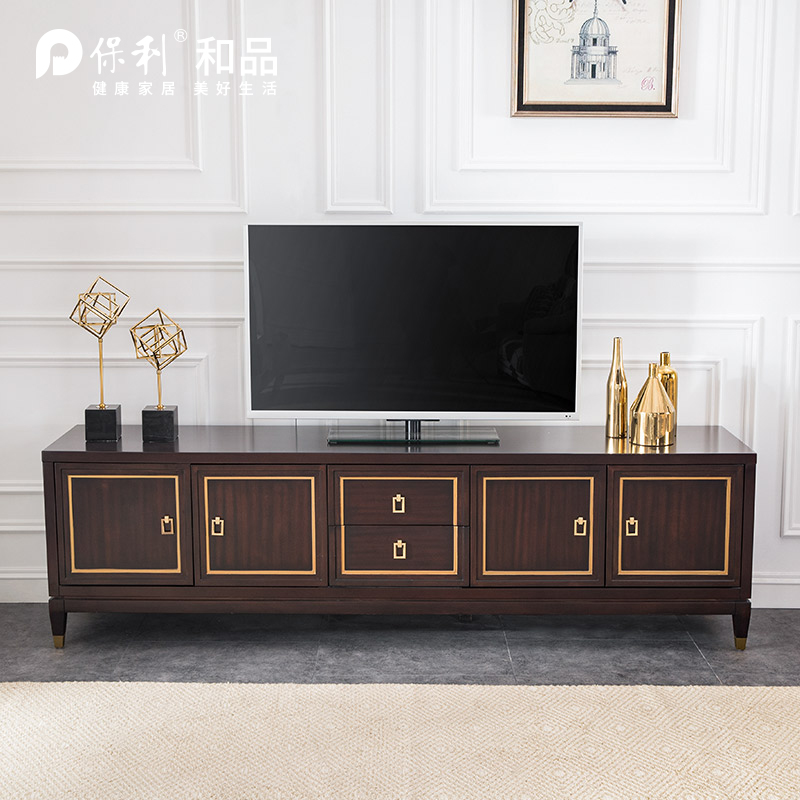 保利和品NAPA纳帕描金实木电视柜(深棕色)YXQ005