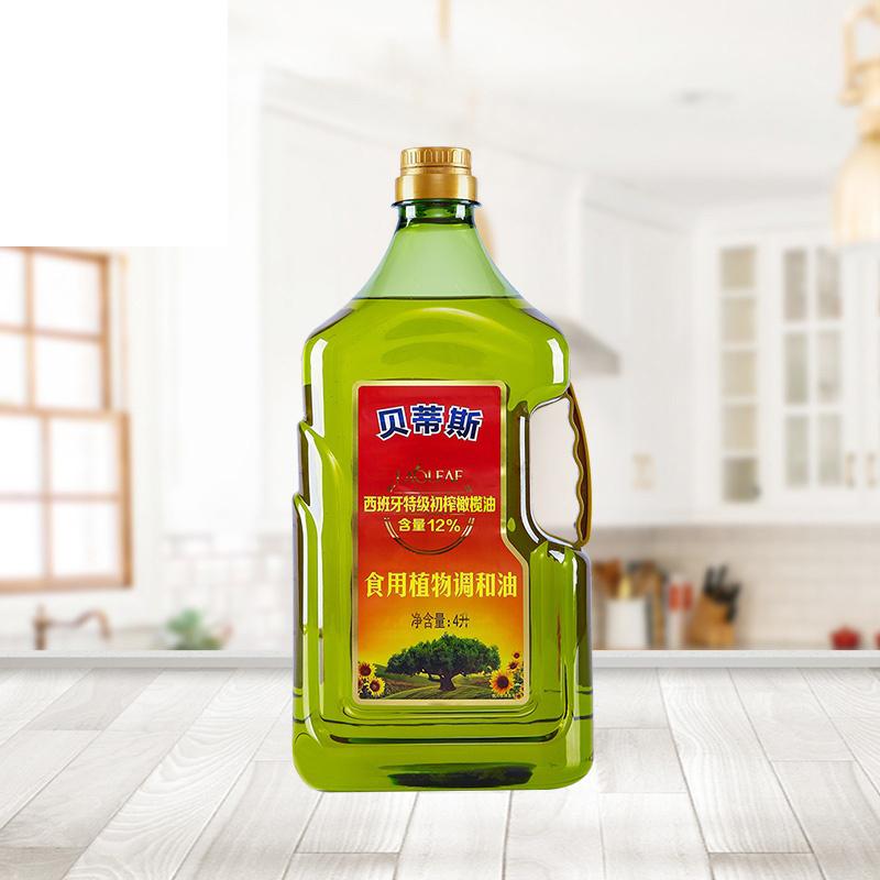 贝蒂斯葵花籽橄榄食用植物调和油4L升 添加12%特级初榨橄榄油瓶装