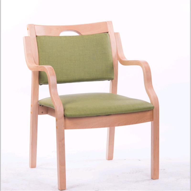 金康桥 实木布艺皮餐椅养老院敬老院用老人椅 绿色