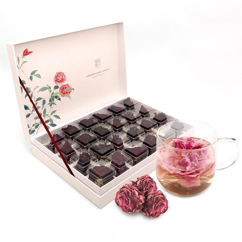 茶兴茶幸 茶叶 花草茶 玫瑰花茶 冻干墨红玫瑰花茶 礼盒24朵 特级大花一杯一朵 礼品盒 礼品盒
