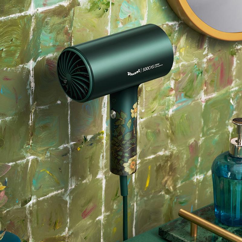 素士小米生态企业电吹风家用 吹风机负离子大功率速干冷热风恒温护发吹风筒IP礼盒款H5梵高绿升级版