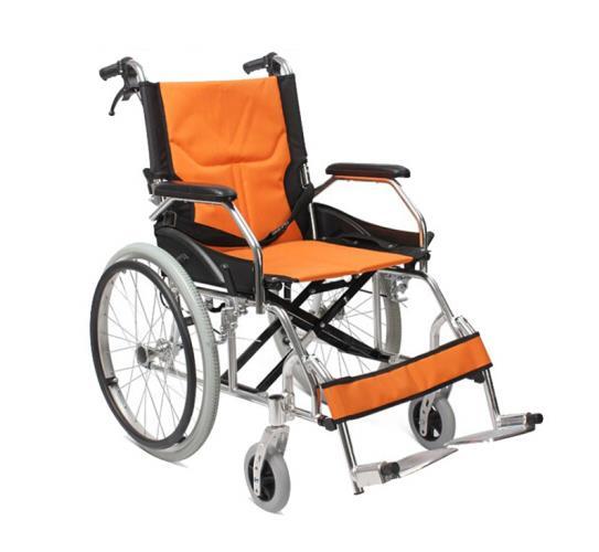 AUFU 佛山东方轮椅折叠轻便便携超轻老人及残疾人铝合金手动轮椅FS863LAJPF1 橙色