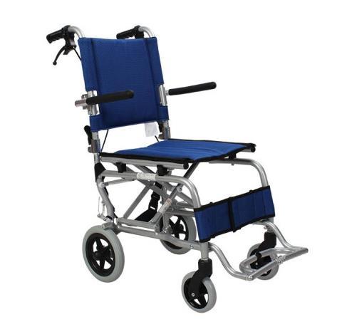 AUFU 佛山东方便携式轮椅 铝合金老人轻便折叠手推儿童旅行飞机轮椅车蓝色FS804LABJP