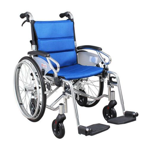 AUFU 佛山东方老人轮椅车铝合金手推轮椅后轮扶手可拆多功能残疾人轮椅22寸 FS903LAJPF9