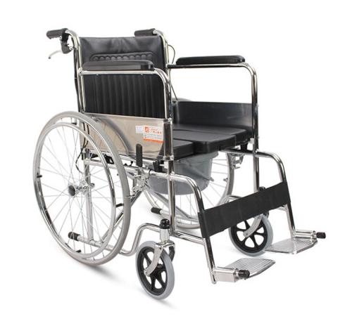 AUFU佛山东方坐便轮椅 黑色 座宽46折叠老人轻便带马桶坐便轮椅FS609UJ