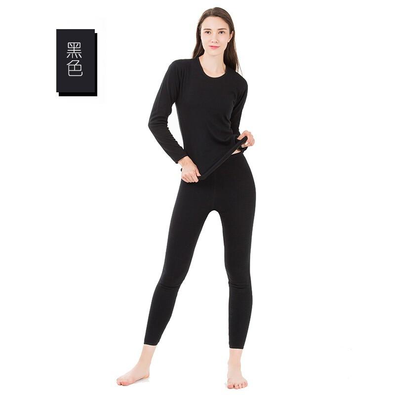 纤丝鸟女士羊毛护膝保暖套装DTD90018 黑色M
