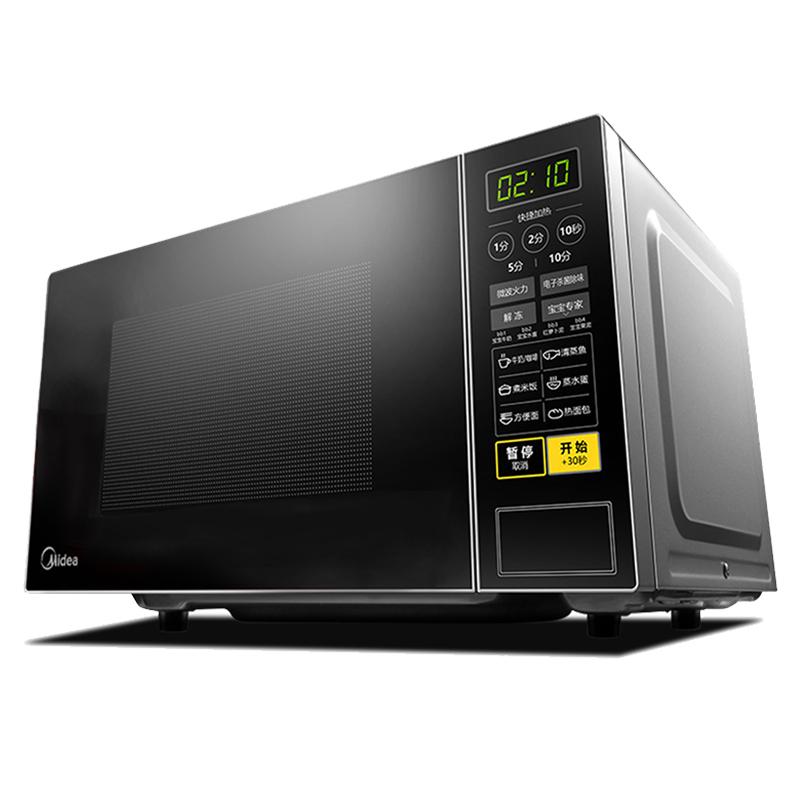 美的 M1-L213C快捷家用微波炉微电脑操控转盘加热智能菜单一键解冻电子除味触控操作21升
