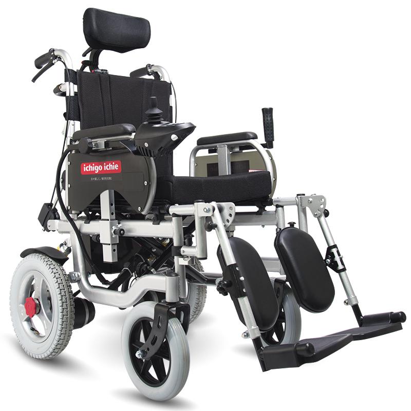 日本一期一会电动轮椅车老人轻便可折叠代步车 老年残疾人锂电池全躺自动轮椅EC-1