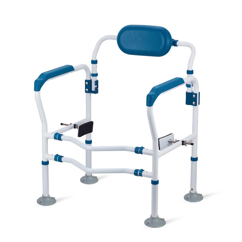 好步(HEPO)五代加强版马桶扶手老人带靠背厕所马桶扶手残疾人移动马桶围架 LQX-050028蓝色