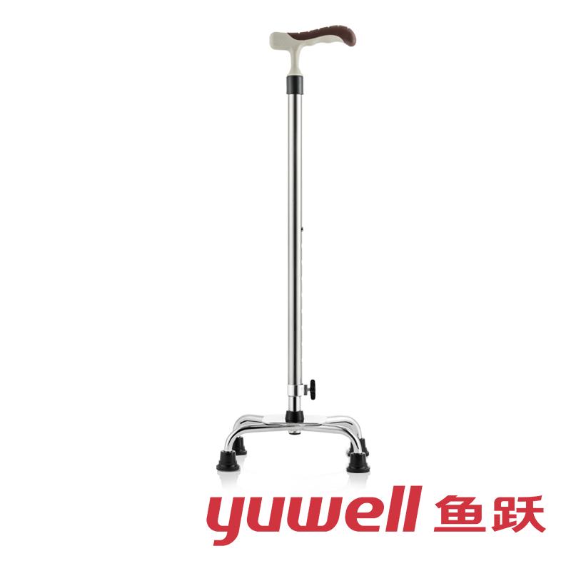 鱼跃 铝合金拐杖助行器老年人助步器可伸缩 四脚防滑 老人手杖拐棍YU852