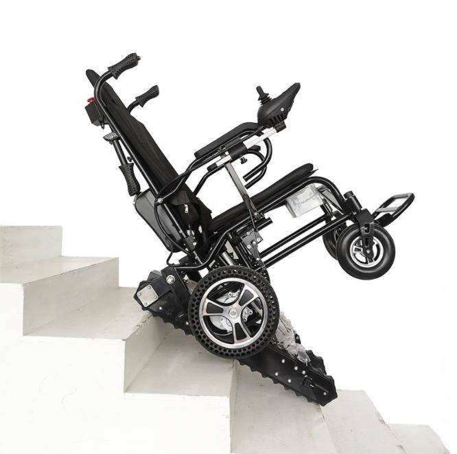 新款电动爬楼轮椅车上下楼梯轮椅折叠便携爬楼机老年人履带爬楼车 平地手推