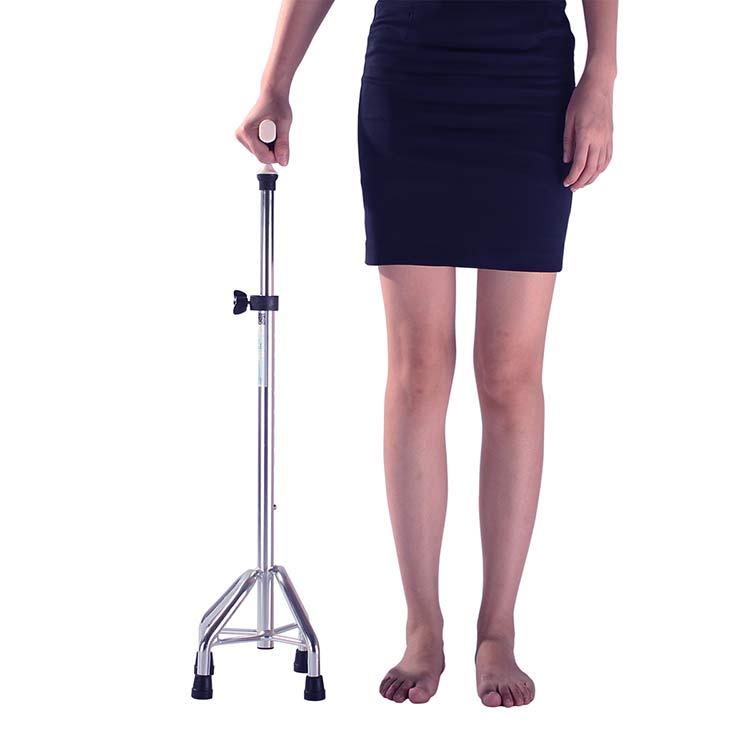雅德 老人拐杖铝合金四脚拐杖高度可调手杖伸缩拐棍助行器 银色款 送四个脚垫送灯