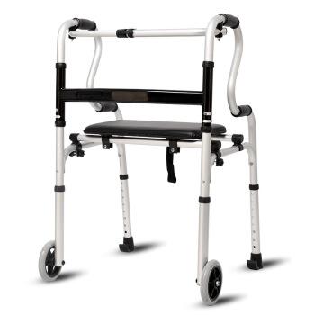雅德 双扶手助行器老人助步器四脚拐杖带轮带座助步车康复器械 YC8307J