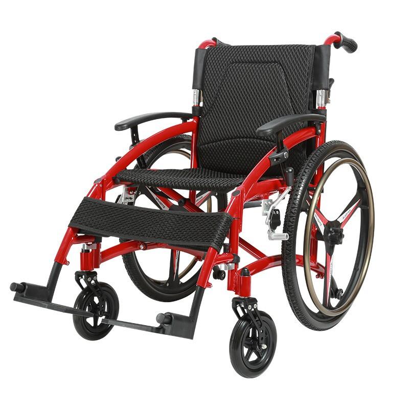 雅德 老年人轮椅残疾人代步车 手动可折叠轮椅 轻便免充气实心轮 运动型轮椅 红色YC6700