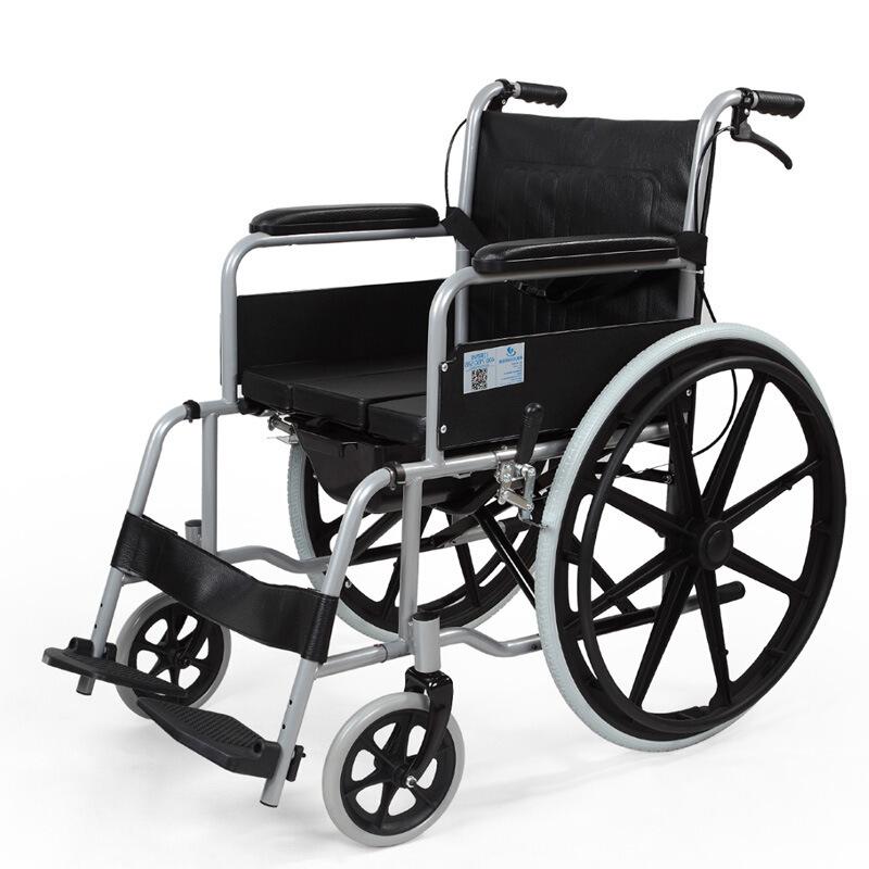 雅德 手推轮椅折叠钢制轮椅老年人带坐便轮椅代步车带四刹可折叠3000W助行器 YC3000WPU