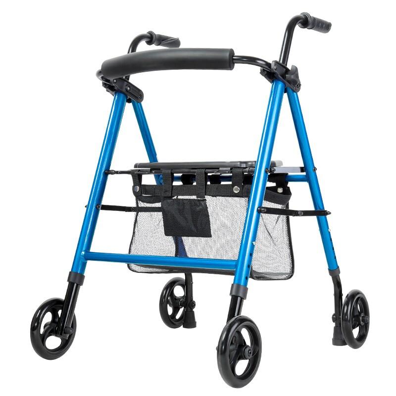 雅德 老人助行器学步四轮车铝合金轻便折叠购物推车拐康复辅助定向轮 蓝色YC9105L(定向轮款)