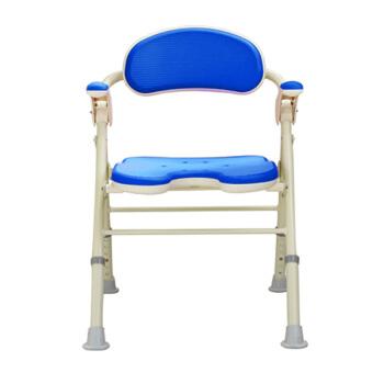 安寿 TU型折叠式抗菌防滑洗澡椅沐浴凳535-467蓝色