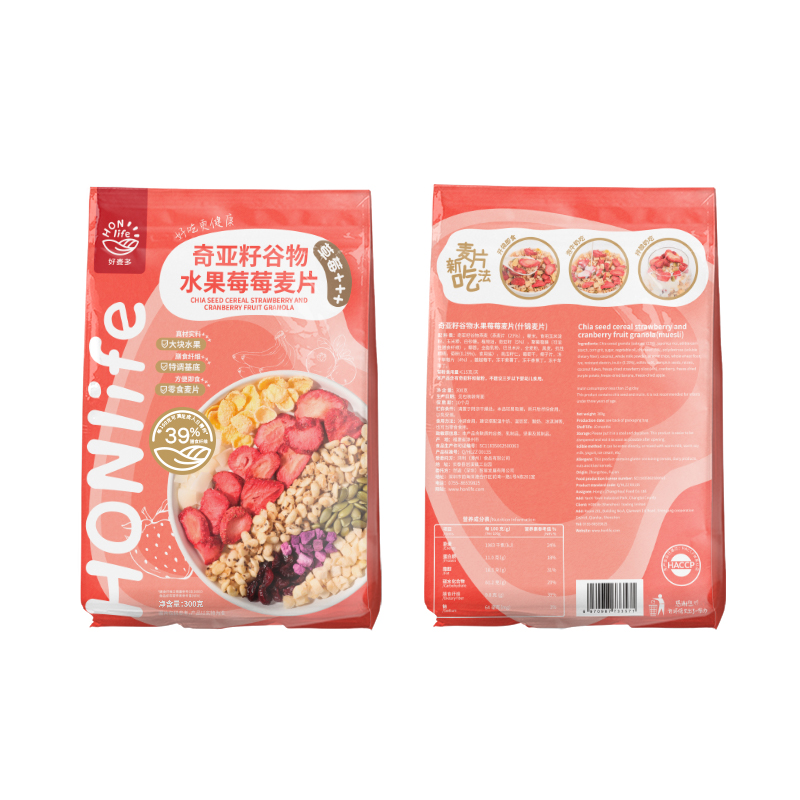 好麦多/Honlife奇亚籽谷物水果莓莓麦片2袋装300g*2