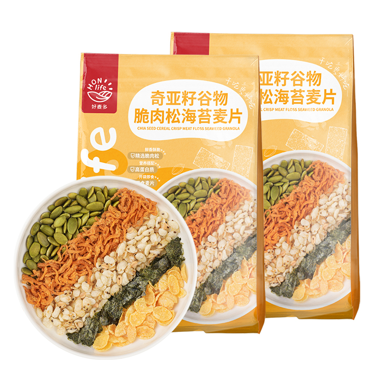 好麦多/Honlife奇亚籽谷物麦片肉松海苔麦片2袋装300g*2
